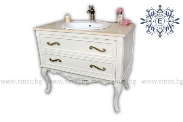 Венеция 2 – водоустойчив ПВЦ класически долен шкаф за баня с мивка и мраморен плот 100 см