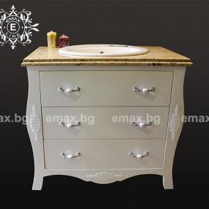 Бутик – водоустойчив ПВЦ шкаф с мивка и мраморен плот 100 см