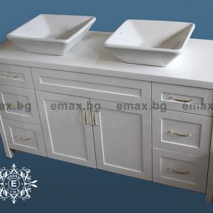 Модел Дуо –  водоустойчив ПВЦ шкаф за баня 120 см с две мивки