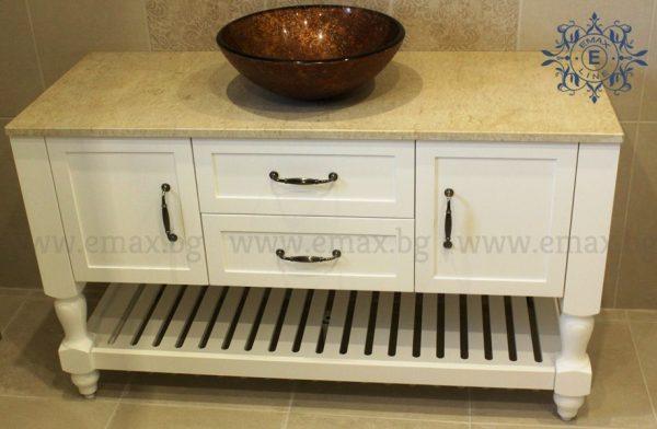 Модел Соренто – водоустойчив ПВЦ шкаф за баня 130 см мивка