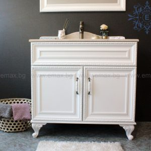 Хармония Лукс 2 – водоустойчив ПВЦ ретро шкаф за баня с мивка и мраморен плот 100 см