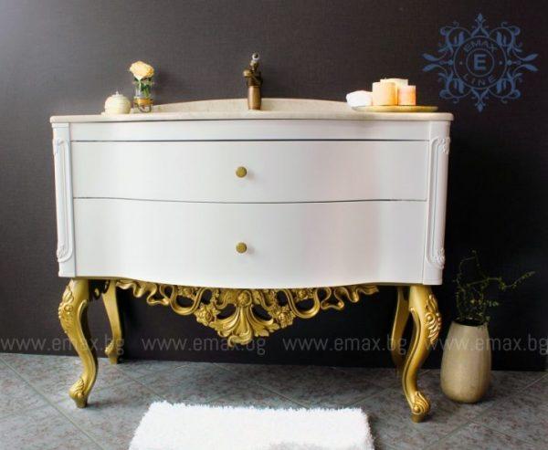 Модел Ла Скала – Италиански стил в банята - водоустойчив ПВЦ шкаф за баня с мивка и мраморен плот 110 см