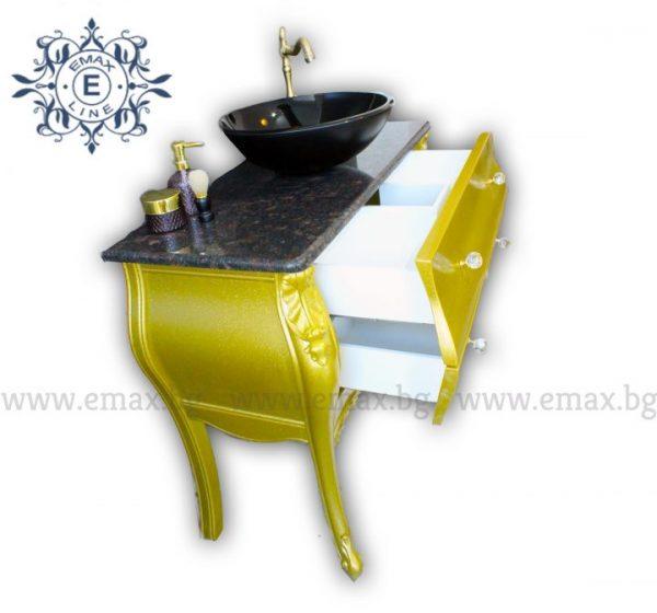 Голд – водоустойчив ПВЦ златен шкаф за баня с мивка купа и гранит 100 см