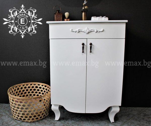 Бианка – водоустойчив ПВЦ шкаф за баня с порцеланова мивка 60 см