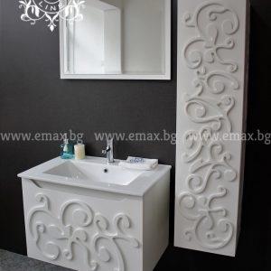 Комплект Орнамент – водоустойчив ПВЦ  шкаф  60 см с колона за баня и огледало с осветление