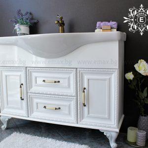 Уют – водоустойчив ПВЦ ретро шкаф за баня с голяма мивка 107 см