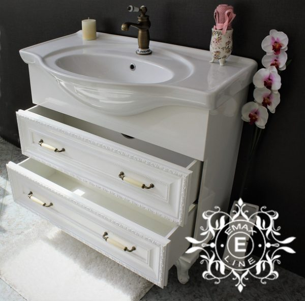 Хармония – водоустойчив ПВЦ ретро шкаф за баня с мивка 87 см