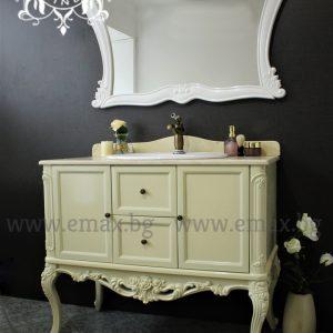 Венеция – водоустойчив ПВЦ класически долен шкаф за баня с мивка и мраморен плот 100 см