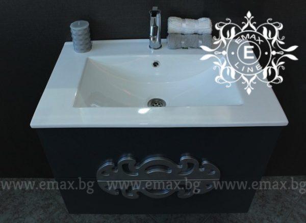 Комплект Медальон сив - водоустойчив ПВЦ шкаф с мивка 70 см и горен шкаф с огледало с LED осветление