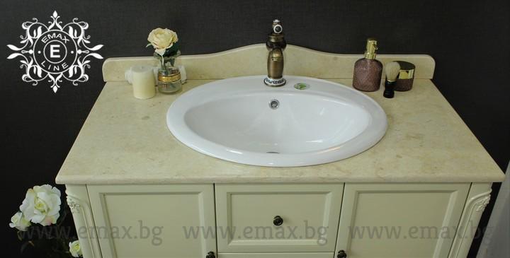 шкаф за баня с мраморен плот