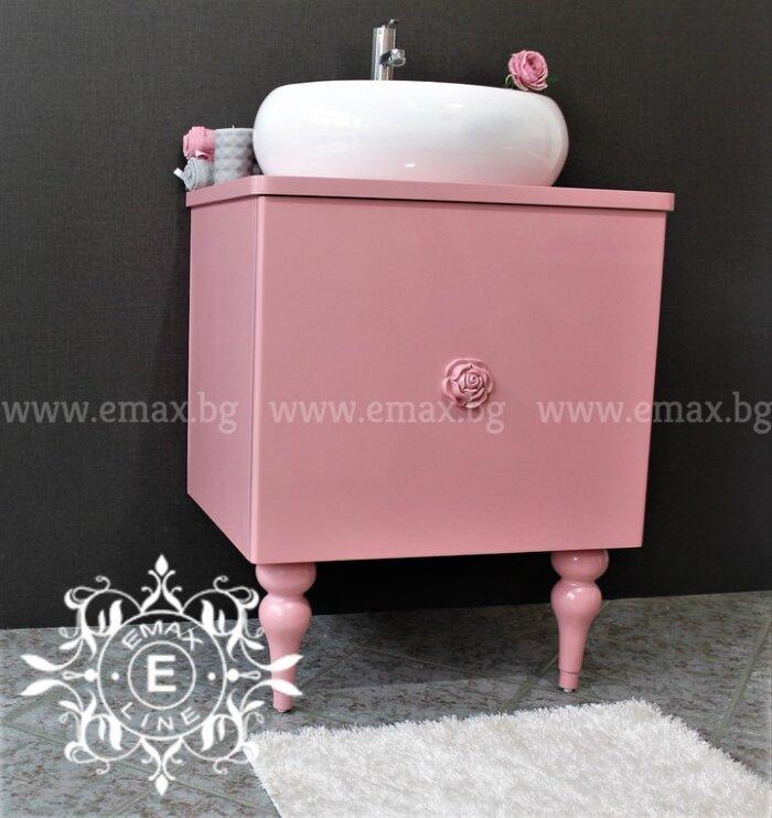 Шкаф с мивка за баня розов