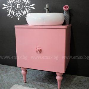 шкаф за баня с купа розов