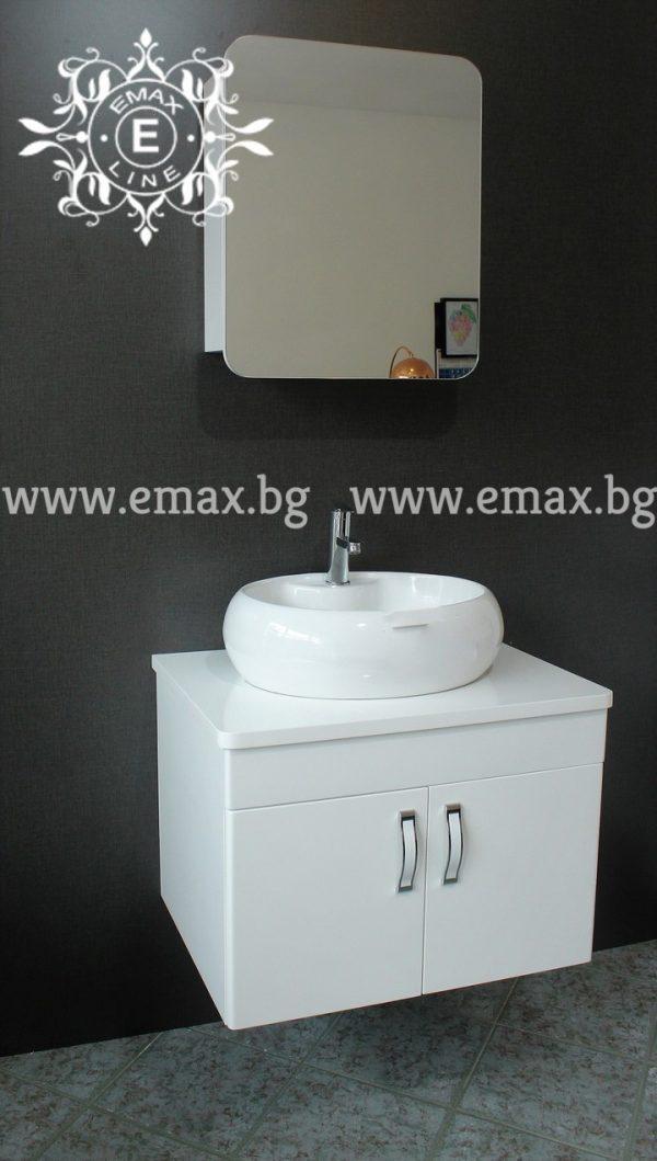 Комплект Модера 2 – водоустойчив ПВЦ шкаф за баня 70 см и горен огледален шкаф