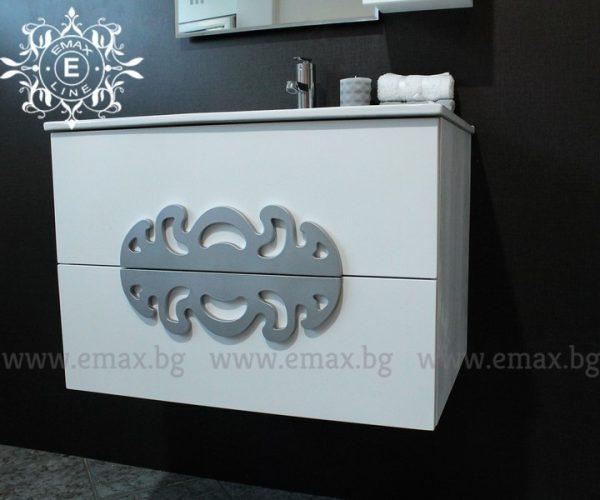 Комплект Медальон - водоустойчив ПВЦ шкаф с мивка 70 см и горен шкаф с огледало с LED осветление
