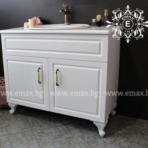 Хармония Лукс 3 – водоустойчив ПВЦ ретро шкаф за баня с мивка и ПВЦ плот 100 см