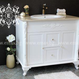 Каприз – водоустойчив ПВЦ шкаф мивка за баня с мраморен плот 100 см
