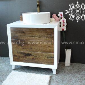 Кубо – водоустойчив ПВЦ шкаф за баня с мивка 80 см Промоция