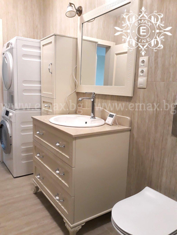 долен шкаф за баня с огледало и колона за баня