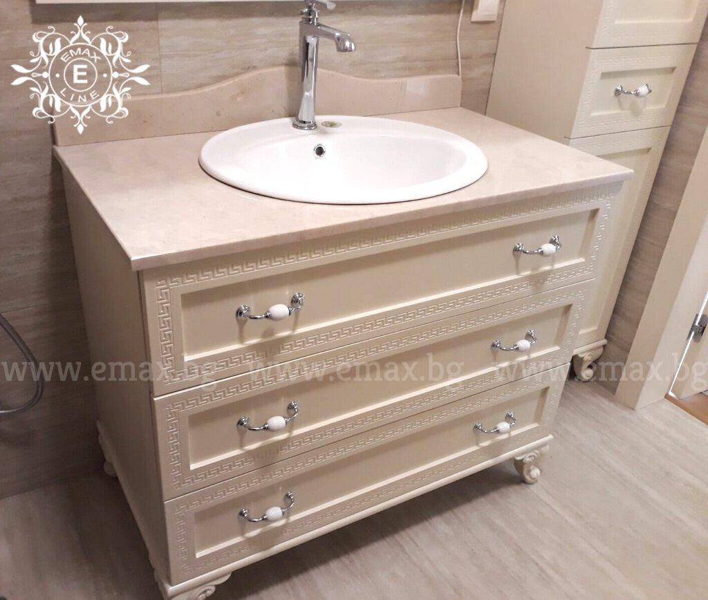 долен шкаф за баня с плот от технически камък